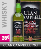 Whisky clan-cambell 70cl, à 23 euros