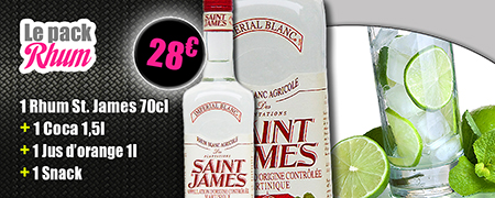 Le pack Rhum à 27 euros, un rhum Saint James, 70 centilitres, plus un Coca 1,5 litre, plus un jus d'orange, plus un snack
